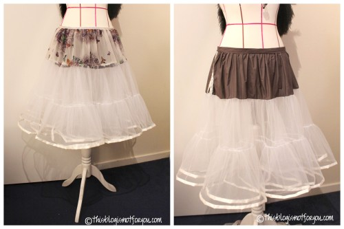 DIY Layered Tulle Petticoat Tutorial from This Blog Is Not For You here. This pattern has an adjustable waistband so you can lower or raise the length. The left photo is a single and double petticoat combined and on the right is a double petticoat. Tulle is a really inexpensive fabric.