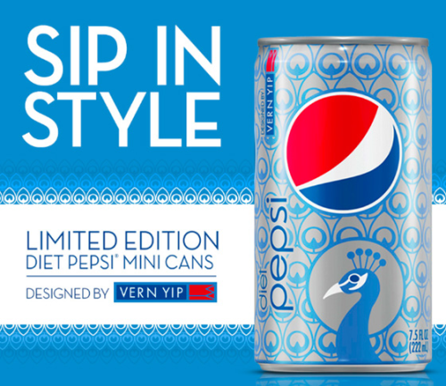 "Diet Pepsi teamed up with HGTV star Vern Yip to roll out an all-new, chic Limited Edition Diet Pepsi Mini Can for the spring. So, why a peacock? Pepsi says the peacock is currently trending this spring, from home décor to movie sets. The ""Sip in Style"" campaign hopes to strike a chord with female consumers who love home and design. With a fun design and cool color palette, who said soda cans can't have flair?"