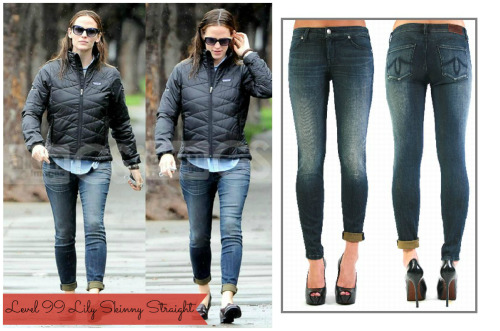 Jennifer Garner in her Level 99 Lily Skinny Straight Denim.