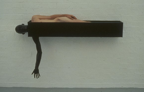 iheartmyart:  Charles Ray, Painted Box, 1981-1985, painted steel and human body, 72 x 12 x 42 inches, 183 x 31 x 107 centimeters
