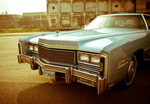 zenfabulous:  The King's Last Car:a 1977 baby blue Cadillac Eldorado [x]