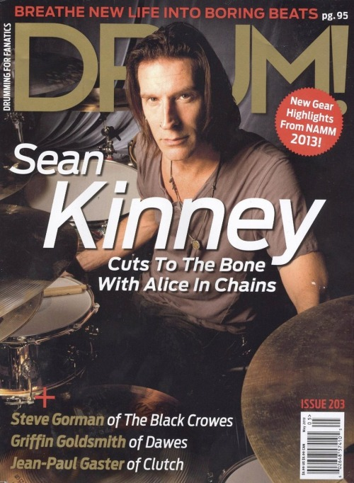 Alice in Chains' Sean Kinney on the cover of the May 2013 DRUM! magazine.