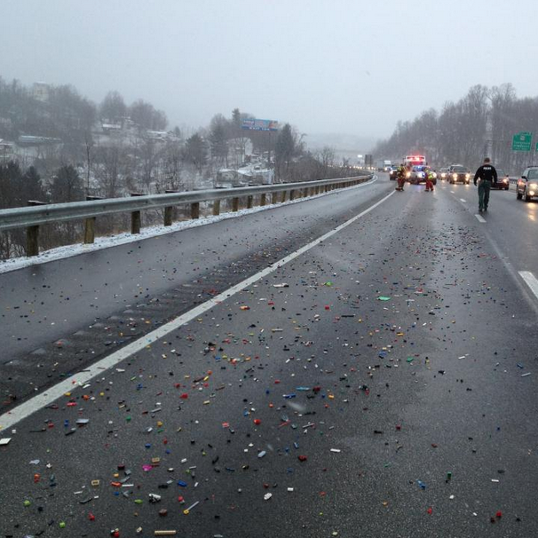 """A Lego spill has shut down a highway in West Virginia. I sure hope no one is barefoot."""