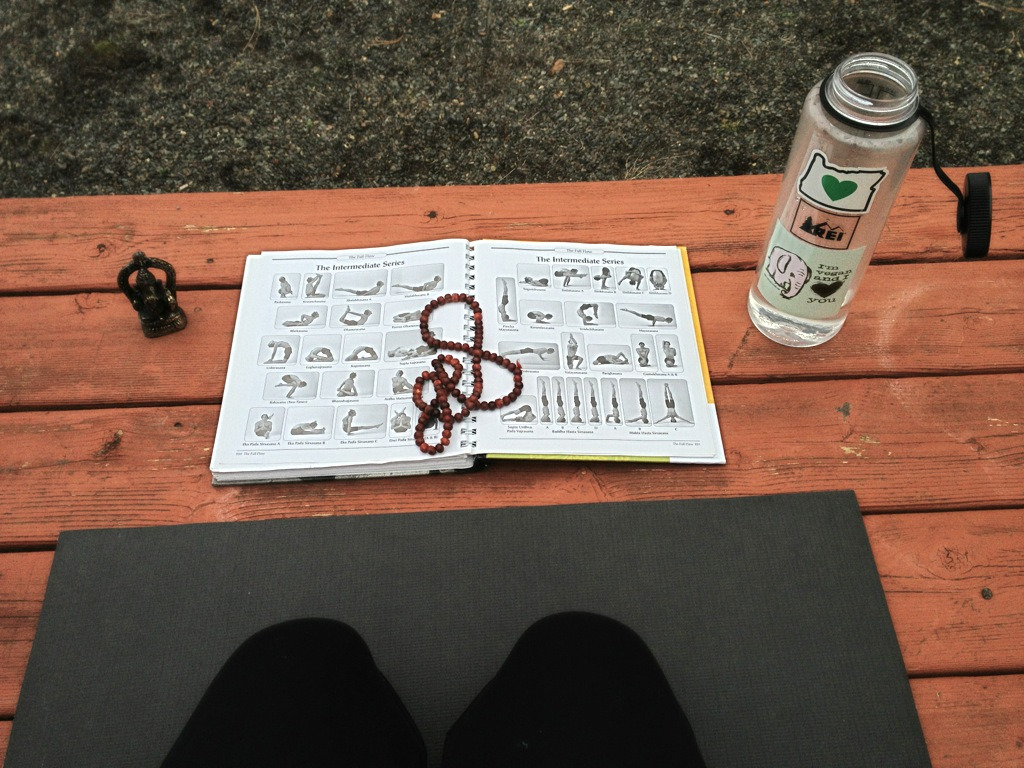 My space for today. I love practicing Ashtanga outside in the fresh air, it's especially invigorating.
