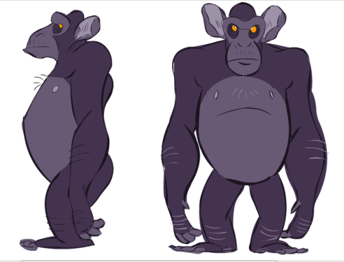 really rough looking chimps, trying out colours for this guy