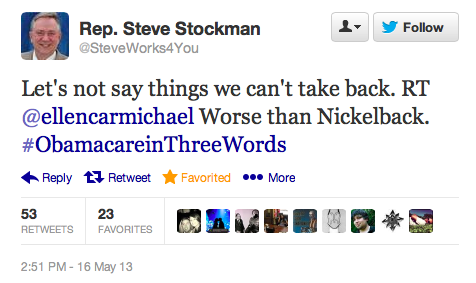 I don't know anything about Rep. Steve Stockman, a Republican representing Texas' 36th District, but I do know comedy when I see it. In other news, at what point will Republicans exhaust themselves in their endless attempts to repeal the Affordable Care Act? Is it never? If it's never, just tell me so I can stop paying attention.