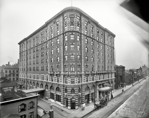 Hotel Seneca: 1908 In 1957, the Hotel Seneca became the Manger Hotel.  Shortly thereafter, it was razed to make way for Midotwn Plaza.  Today, the Windstream building stands exactly where the Seneca once stood.   Previously, I posted the interior of the hotel's remarkable Pompeiian Room.
