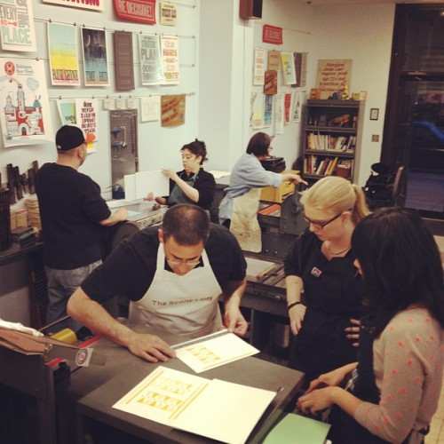 Tonight's polymer plate class is printing printing printing!