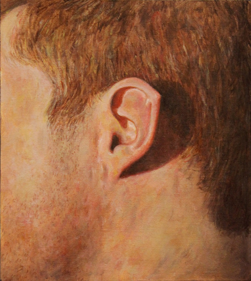 Allan Innman, Pointy Ear, oil on muslin mounted to panel, 6.75 x 6 inches, 2013.This is a painting I finished up a few months ago of my ear. I got a Spock-like ear!