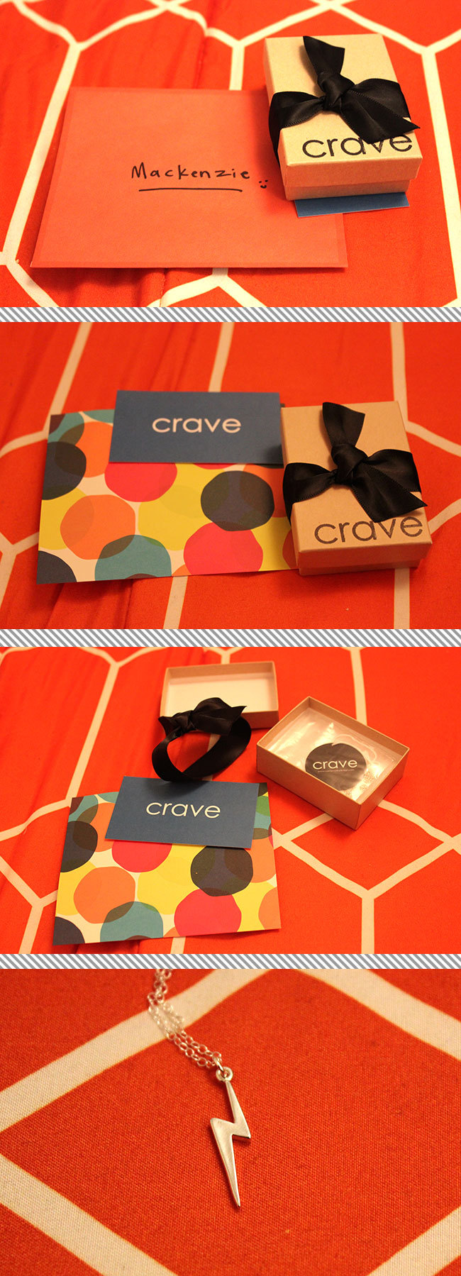 unpacking my necklace from Crave Jewelry