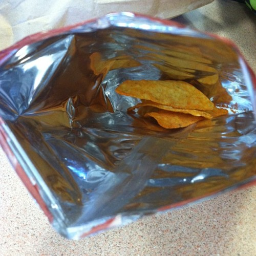 geothebio:  sexuallychargedtelepath:  Opened my bag of #doritos to find literally 3 chips in it. Way to go #fritolay  so my friend rayne decided to buy a bag of doritos today