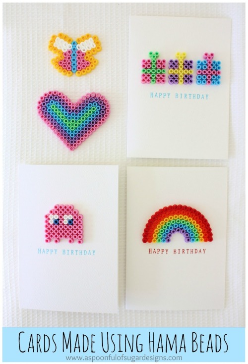 DIY Perler Bead Cards Tutorial from A Spoonful of Sugar here. For lots more Perler Beads DIYs go here: unicornhatparty.com/tagged/perler-beads
