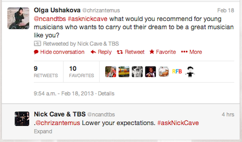 flavorpill:  The only part of the Nick Cave live tweet Q&A that you need to read.