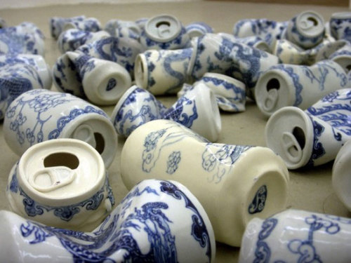 goldenwallen:  Xua Lei Porcelain crushed Cans
