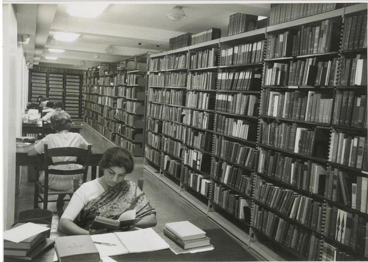 1960- in the library stacks. Still look the same, but the ghost stories have made the desks less occupied.