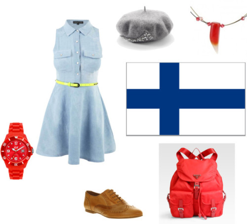 Fem!Finland by we-burn-you-burn-with-us featuring a shift dressShift dress, $38 / Office wingtip oxford, $84 / Prada knapsack bag / Ice-Watch bracelet watch / Wedding bridal jewelry / Apt. 9 apt 9