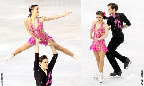 Jessica Crenshaw and Chad Tsagris's short program costumes at the 2010 European and World Championships. Sources: 1 and 2.