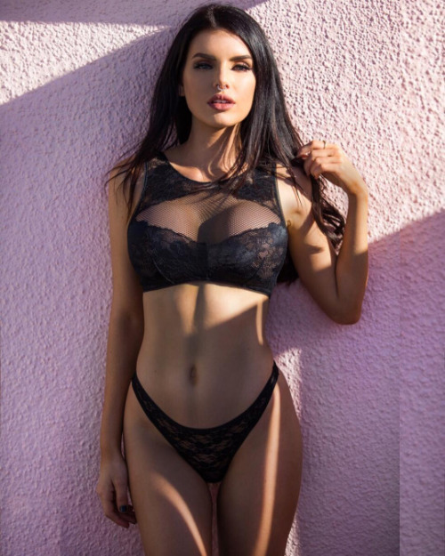slender girl in black lingerie
