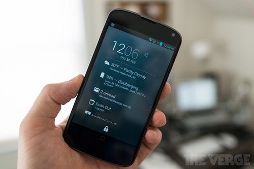 Best New Apps: DashClock Widget DashClock Widget is a new widget for Android 4.2 devices that can be placed on a user's home screen or lock screen. Developed by a Google employee, DashClock provides quick, glance-able information on your device without requiring you to even unlock it. You can see current weather, numbers of unread emails and text messages, upcoming appointments, and more.