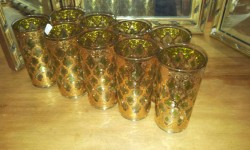 In Shop: 22kt Gold Embossed Filigree design Valencia Pattern Glasses by Culver lmt. £8 each