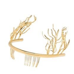 "arachnid-tea:  tuileries:  Balenciaga Spring/Summer 2013 headband.  ""the golden metal bandeaux, worn horizontally on the back of the head, some of them sprouting a sapling's branches and leaves like the Greek goddess Daphne being transformed into a laurel tree, an effect that Ghesquière called 'invading nature.'""  Nicolas Ghesquiere said he was inspired in part for this collection by the mythology of antiquity and a nymph and faun window display made for the store windows in 1957.  MAN   it's so pretty but lol I'm sorry, but it reminds me of Thranduil's crown.."