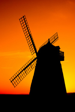Halnaker Windmill at Sunset by sagesolar on Flickr.