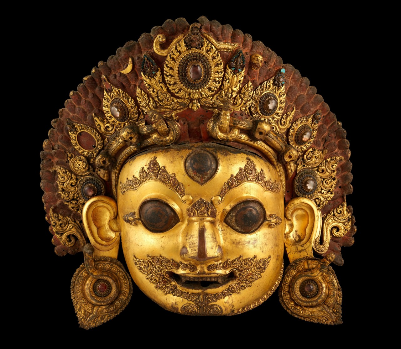 Head of Bhairava, the Wrathful Form of Shiva  16th century Nepal Gilt copper with rock crystal and paint