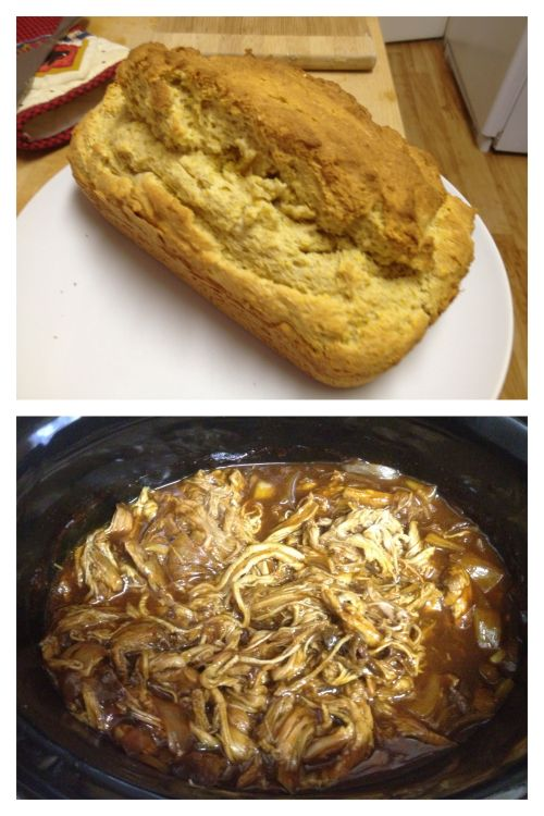 My accomplishment for the day: gluten free cornbread and BBQ pulled pork.