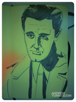 Robert Vaughn as Charmers in BULLITT. Pen, brush pen, mechanical blue pencil on Moleskine.