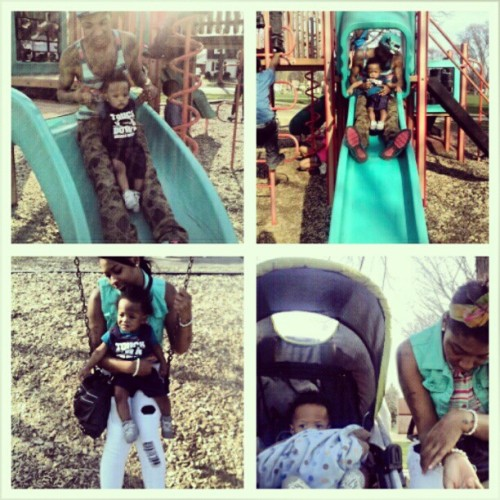 Was Finally Nice Enough To Take Brayden To The Park w/ @iam_baile . #Family #FamilyTime #Love #GreatWeather #HighTemps #BabyBrave #Brayden #PlayGround #Slide #TotLot