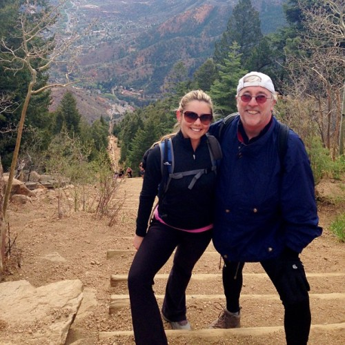 "Manitou Incline with my dad! The Incline Trail consists of approximately 2,000 steps and 2,000 feet of elevation gain in just over a mile. Most of the ""trail"" is composed of little more than railroad ties rebarred into mountain. Its steepest section is a 68 percent grade. (at Manitou Incline, Pike's Peak)"