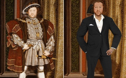How historical figures would have looked today: (ABOVE) HENRY VIII Renowned for being vain and lavish, King Henry has been given white veneers and hair plugs to hide his balding head. Known to flaunt his wealth, is now out of his voluminous puffed sleeve velvet gown and in a tailored designer black suit, wearing a sparkling diamond ring and designer watch. Instead of the cotton shirt fastened up to the chin he now sports an unbuttoned shirt Simon Cowell style and is very much the modern day lady killer. An avid sportsman and known for being conceited he has been slimmed down. Henry's vanity would have ensured he would have retained the naturally muscly, rugby-player type figure he had in his youth. Known for having spent a lot of time outdoors riding, hunting, and playing tennis, Henry VIII has also been given a tan. Henry has exchanged his uncomfortable flat footed shoes for modern shoes with a heel. (from: The Telegraph)