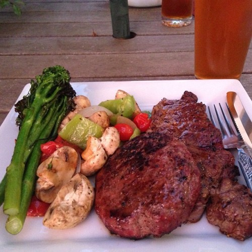 #Paleo BBQ date night (plus a very non-paleo IPA Matt brewed). I'm training Matt to eat paleo. And he's training me to drink craft beer. Win-win.