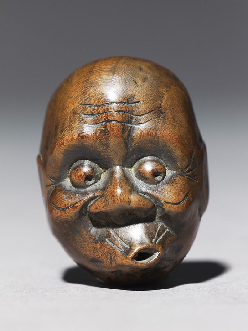 japaneseaesthetics:  Netsuke in the form of a hyottoko mask.,  Japan, 18th century (1701 - 1800)