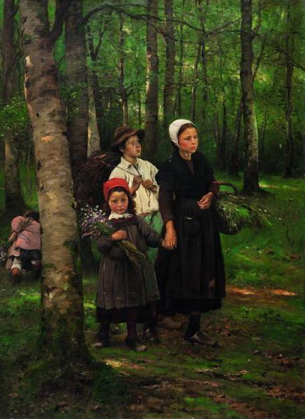 poboh:  Children in Beech Forest, 1891, Václav Brožík. (1851 - 1901)