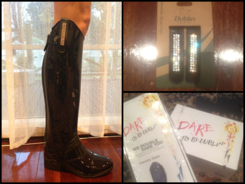 SO in LOVE with my Limited Edition Patent Blue Intensity boots and gaiters with Diamonti clips!! A girl can never have too much BLING!! Can't wait to wear these babies at the Quilty!! Thanks Dublin ❤❤😍😍