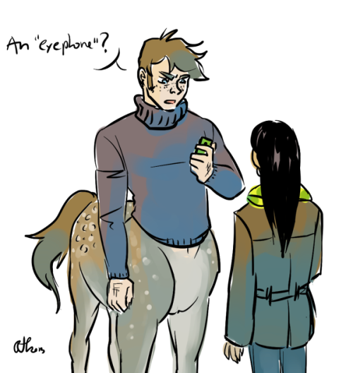 Ahaha, this is all I can pull off for draw a centaur day (and a couple hours late in Finnish time). Dawn and his progressive human friend who hasn't really been designed yet.
