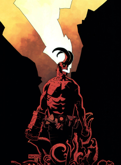 grisser:  technochaun:  Hellboy,Wake the Devil cover art by Mike Mignola.  Nevermind. a better lock screen!