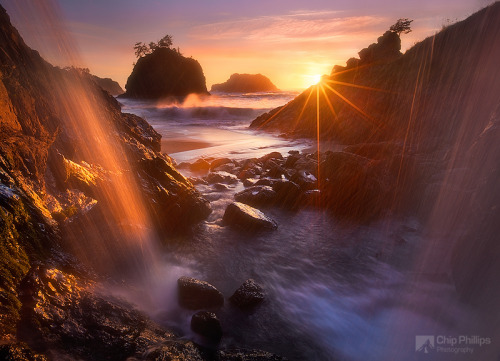 "Ocean Waterfall Oregon Coast by Chip Phillips. ""Shot from behind a coastal waterfall on the Southern Oregon Coast."" chipphillipsphotography Thank You, Chip! Source: 500px.com"