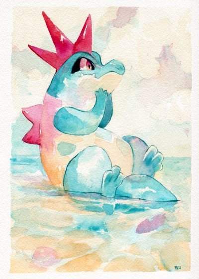 purplekecleon:  Croconaw watercolor commission