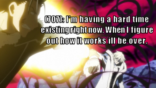 [Image: Fai is trapped in his self-destruct, world-ending curse; Kurogane still persists in getting him out.] [Text: (707): I'm having a hard time existing right now. When I figure out how it works ill be over.]
