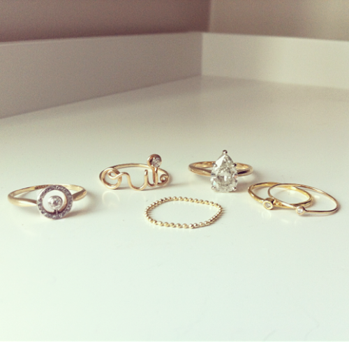 what-do-i-wear:  + Victorian Halo Pavé Diamond Ring + Gold 'Oui' Ring + Ring + Jacquie Aiche Diamond Waif Bezel Ring + Bittersweets NY Teensy Diamond Ring (image: lefashionimage)