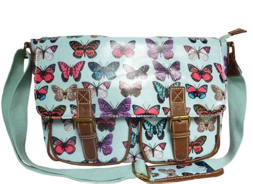 Amazon.com: Girly HandBags Women\'s Butterflies Oilcloth Messenger Bag Dark Blue: Shoes