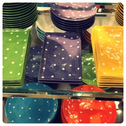 Spotted: cute polka dot dishes at Sears. Some colours are on sale.