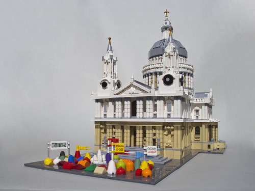 St Paul's Cathedral in Lego, complete with Occupy London camp, by Mechalex (via).