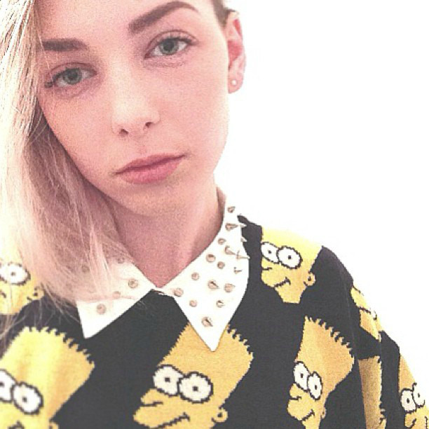 D.I.Y.studded blouse, and 'bart' knit sweater (taken with instagram)