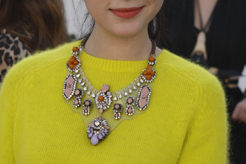wgsn:  A lovely statement necklace and neon yellow sweater combo #StreetStyle #LFW WGSN Street Shot, London Fashion Week