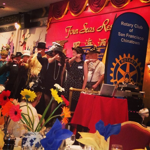 Rotary Club of S.F. Chinatown's Mad Hatter Chinese Tea Party: 5th Annual Fun Fest! 😀🍵🍱👍 Rotarians and Rotaractors called up to the stage to dance!! #rotary #rotaract #party  (at Four Seas Restaurant)