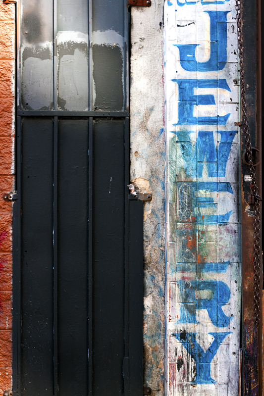 An old painted storefront in downtown Los Angeles.