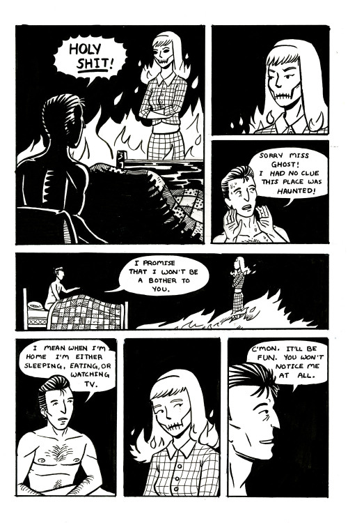somethingfeline:  chasingcomics:  The Man Who Lives Alone My Intro to Comics final about ghosts and love.  Oh my Gosh. *ships it*